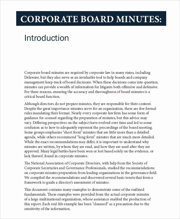 Minutes Of Meeting Corporate format Luxury 18 Corporate Minutes Template Free Sample Example