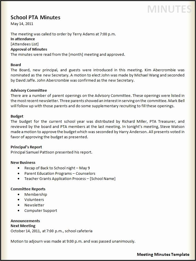 Minutes Of Meeting Corporate format New Meeting Minutes Template