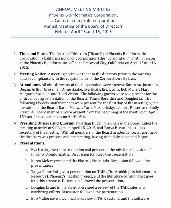 Minutes Of Meeting Corporate format Unique Annual Meeting Minutes Template 10 Pdf Word Google