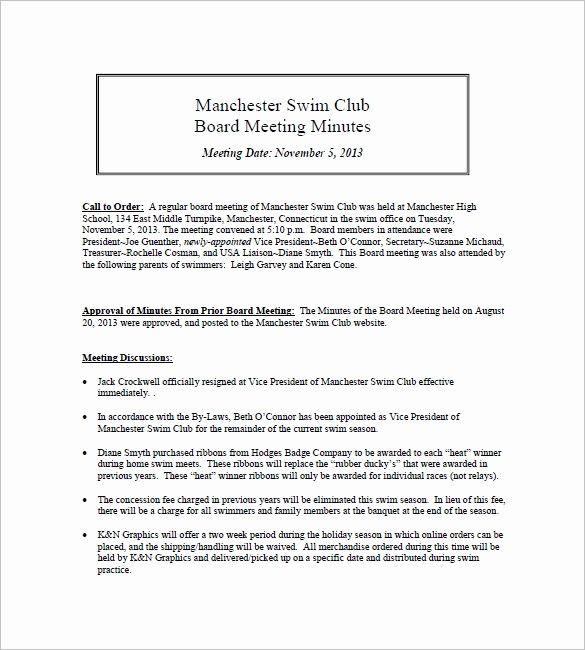 Minutes Of Meeting Report Sample Elegant 12 Club Meeting Minutes Templates Doc Excel Pdf