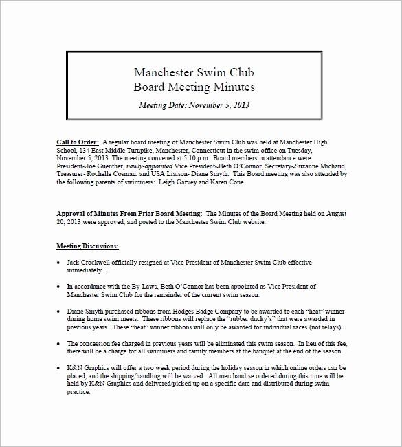 Minutes Of Meeting Report Sample Elegant 12 Club Meeting Minutes Templates Doc Excel Pdf