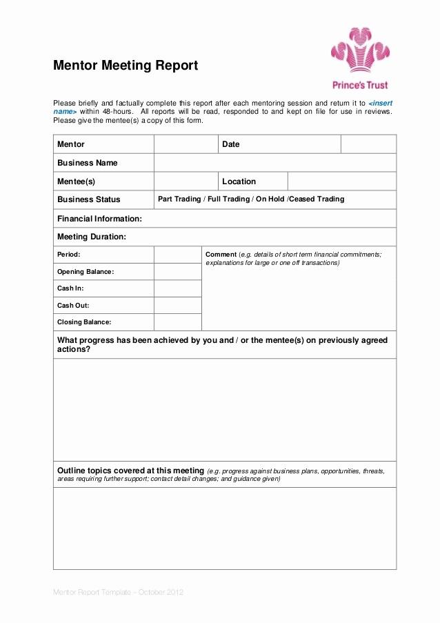 Minutes Of Meeting Report Sample Elegant Mentor Meeting Report Template