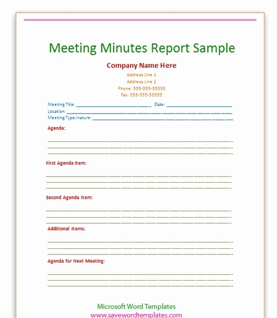 Minutes Of Meeting Report Sample Fresh Meeting Minutes format