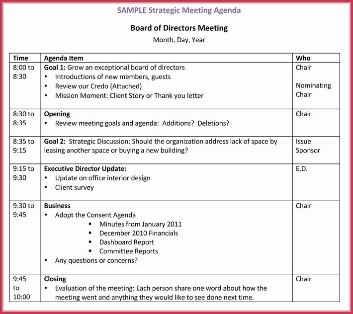 Minutes Of Meeting Report Sample Inspirational Board Meeting Agenda Template 10 Free Samples formats