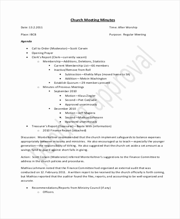 Minutes Of Meeting Report Sample Lovely 11 Church Meeting Minutes Templates