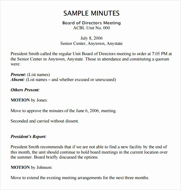 Minutes Of Meeting Report Sample Lovely 12 Board Meeting Agenda Templates – Free Samples Examples