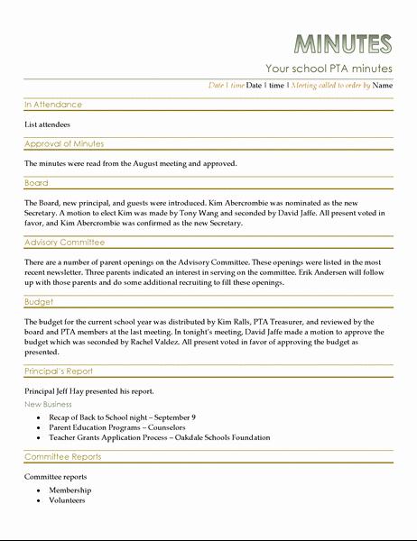 Minutes Of Meeting Report Sample Luxury Pta Meeting Minutes