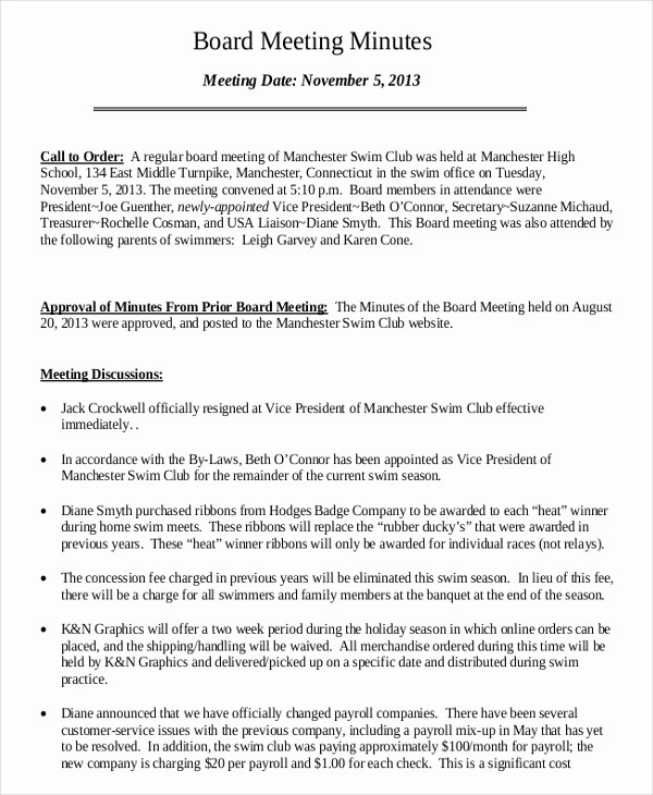 Minutes Of the Meeting Sample Best Of 16 Board Minutes Templates Example Word Apple Pages