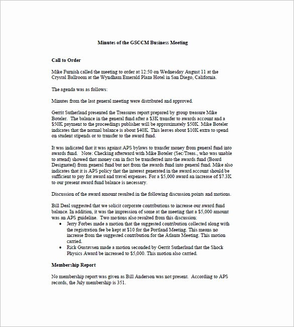 Minutes Of the Meeting Sample Fresh Business Meeting Minutes Template 12 Free Sample