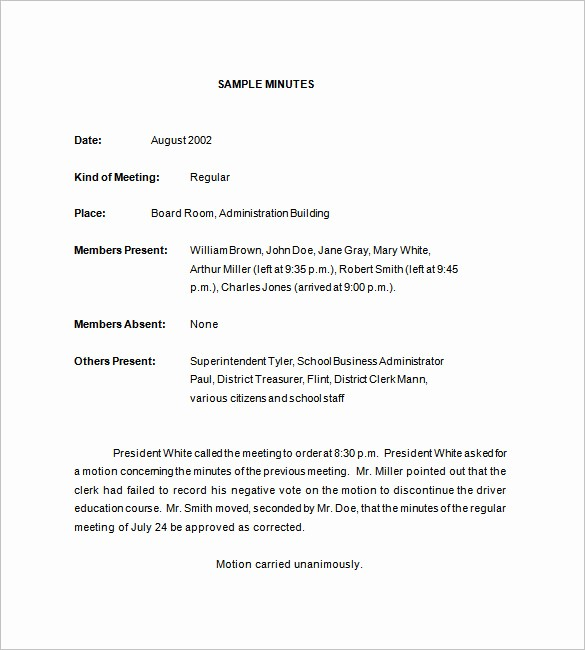 Minutes Of the Meeting Sample New 18 School Meeting Minutes Templates Pdf Doc