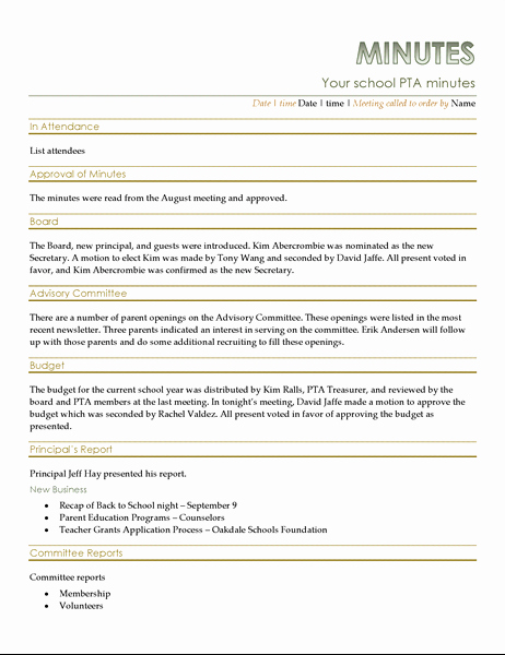 Minutes Of the Meeting Sample New Pta Meeting Minutes