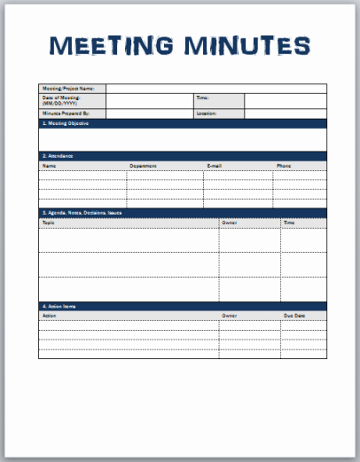 Minutes Of the Meeting Template Beautiful Minutes Meeting Template