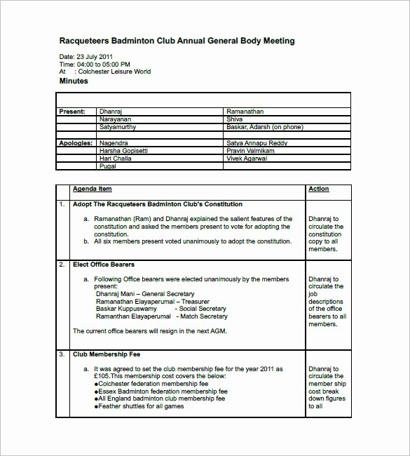 Minutes Of the Meeting Template Fresh Club Meeting Minutes Templates 8 Free Sample Example