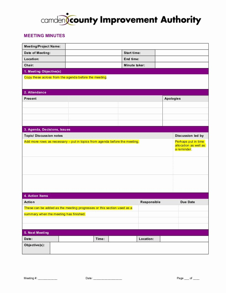 Minutes Of the Meeting Template Fresh Meeting Minutes Template 2