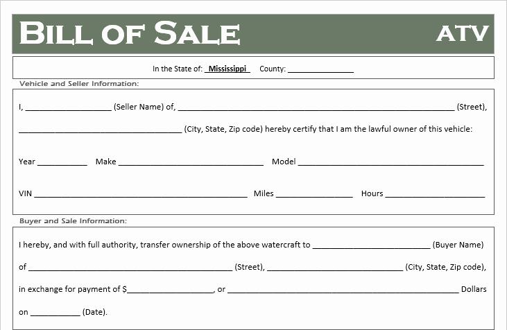 Mississippi Vehicle Bill Of Sale Fresh Free Mississippi atv Dirt Bike and Utv Bill Of Sale