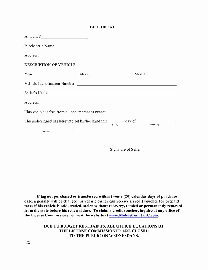 Mississippi Vehicle Bill Of Sale Lovely Free Mobile County Alabama Bill Of Sale form Pdf