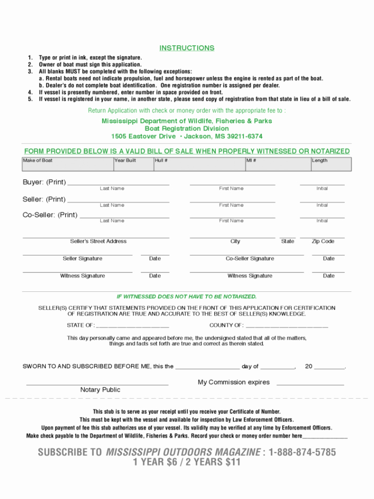 Mississippi Vehicle Bill Of Sale Luxury Mississippi Bill Sale for Boat Pdf form Motor Vehicles