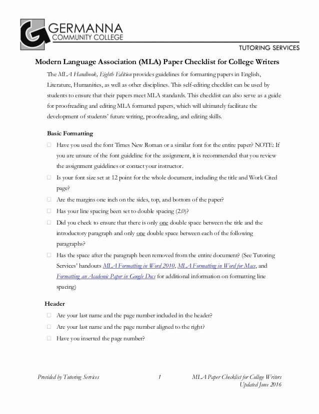 Mla format for College Essay Awesome Writer S Checklist for Mla 8 format by Germanna