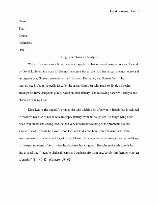 Mla format for College Essay Best Of King Lear Character Analysis