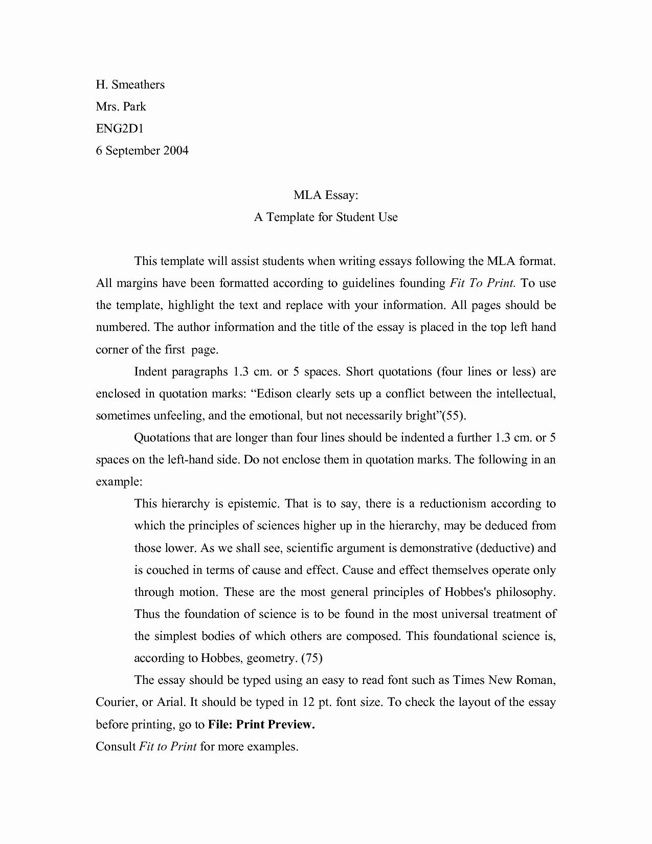 Mla format for College Essay Fresh Mla format Template