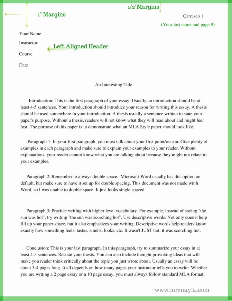 Mla format for College Essay Fresh the Basics Of Mla Style