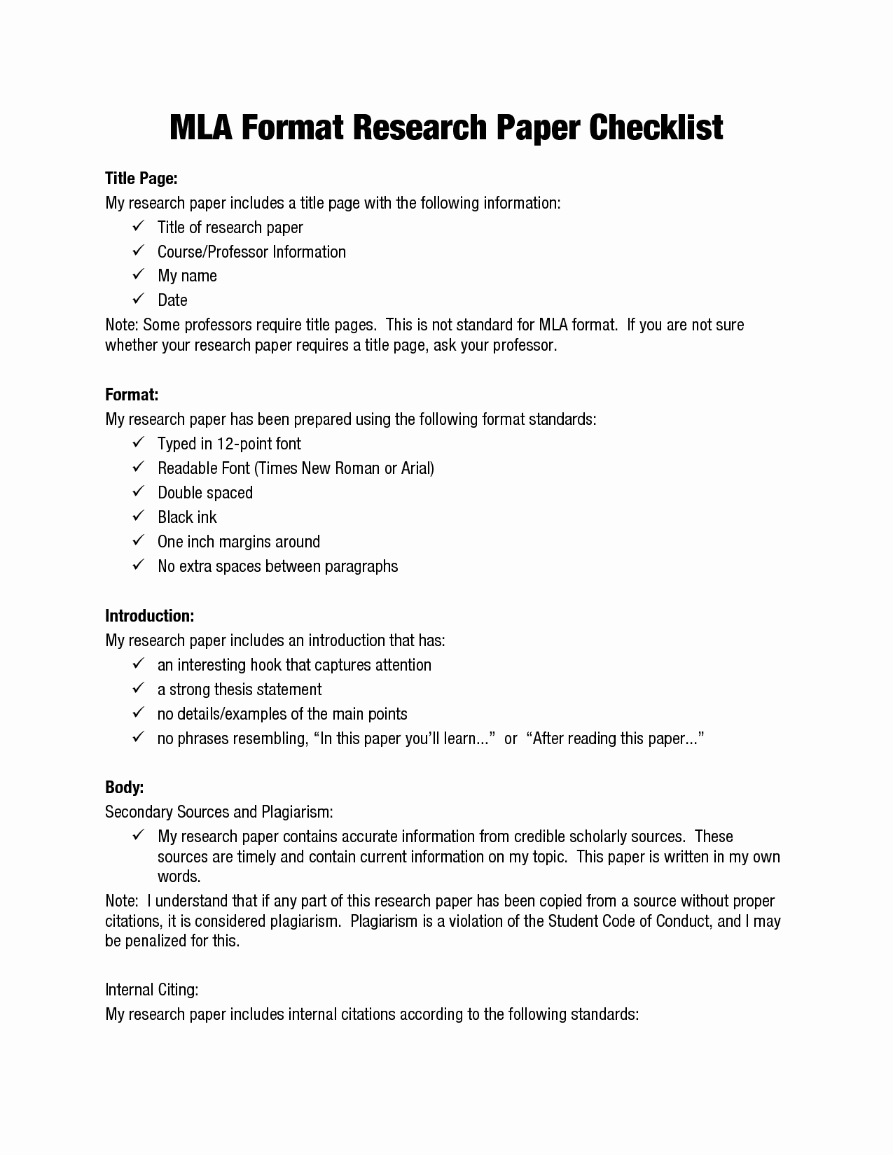 Mla format for College Essay Lovely Mla format Research Papers