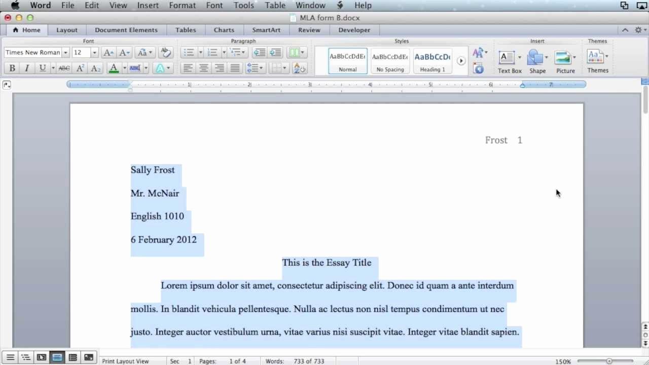 Mla format In Word 2010 Awesome Mla formatting Microsoft Word 2011 Mac Os X