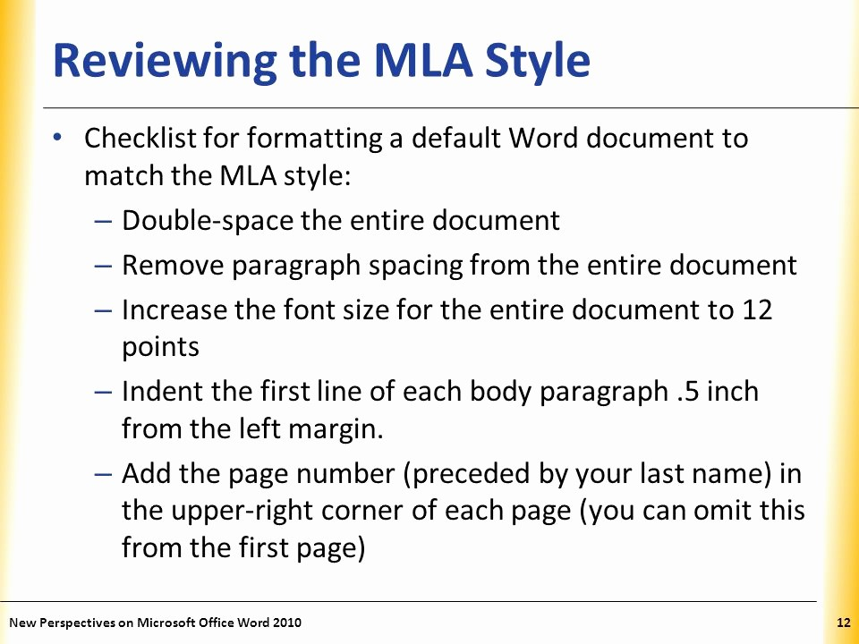 Mla format In Word 2010 Elegant Word Tutorial 2 Editing and formatting A Document Ppt