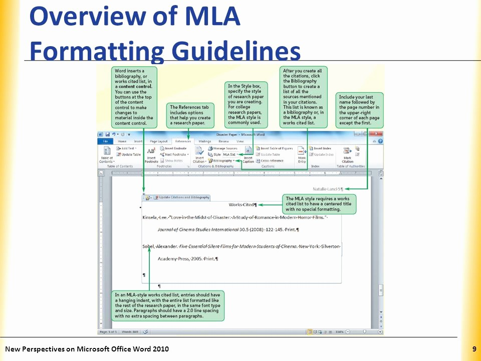 Mla format In Word 2010 New Word Tutorial 2 Editing and formatting A Document Ppt