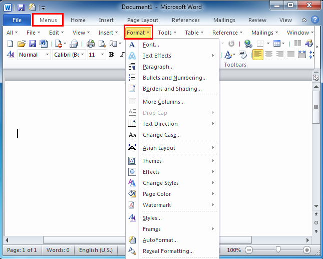 Mla format In Word 2010 Unique where is the format Menu In Microsoft Word 2007 2010