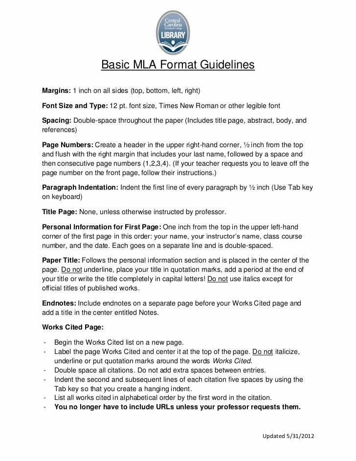 Mla format Of A Paper Awesome Mla format Guidelines