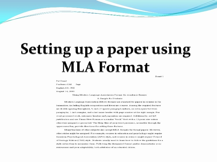 Mla format Of A Paper New Setting Up A Paper Using Mla format