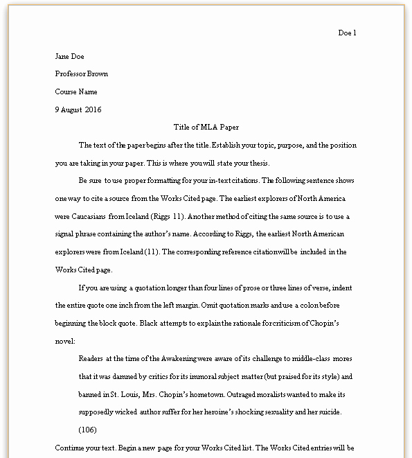 Mla format Of A Paper Unique formatting Your Mla Paper Mla Style Guide 8th Edition