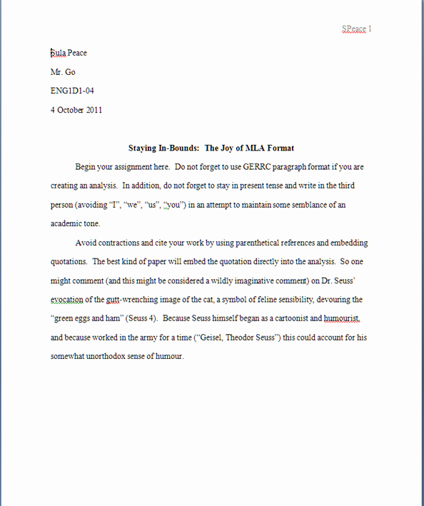 Mla format Open Office Template Unique Mla format Template