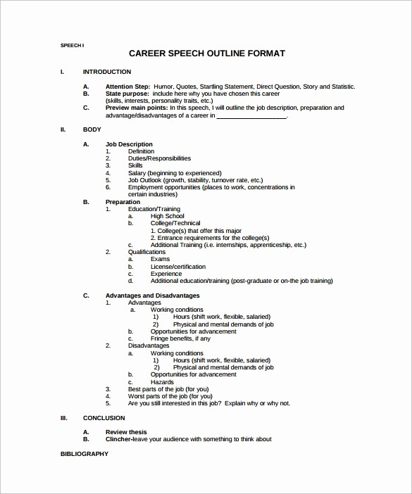 Mla format Outline for Speech Awesome 10 Speech Outline Templates