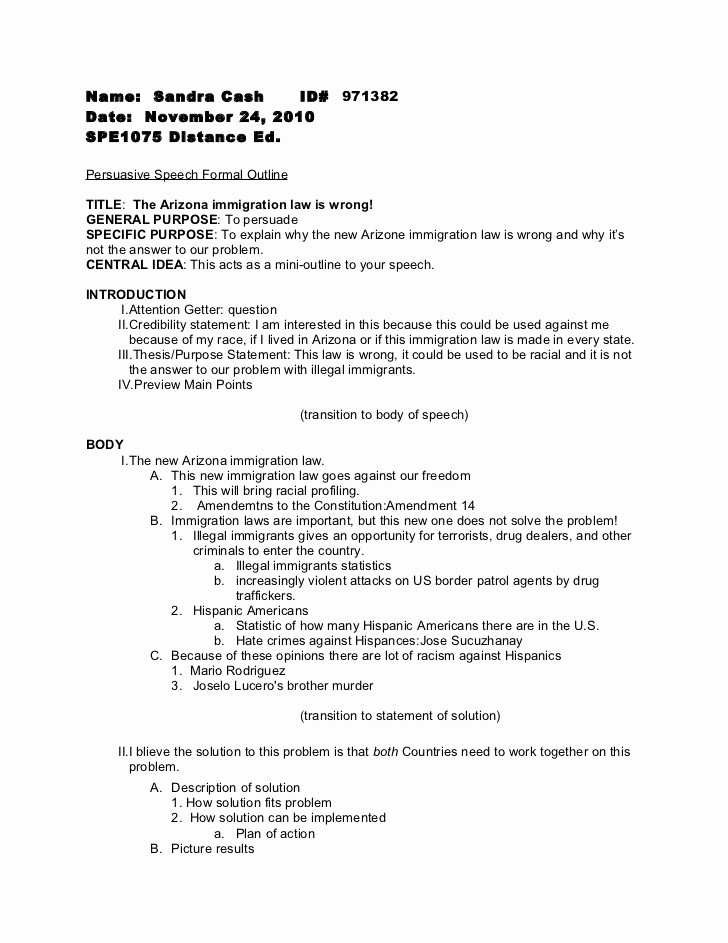 Mla format Outline for Speech Fresh Persuasive Speech formal Outline