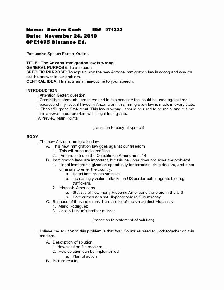Mla format Outline for Speech Fresh Persuasive Speech formal Outline