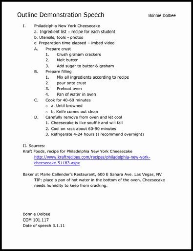 Mla format Outline for Speech Inspirational Informative Speech Outline Template