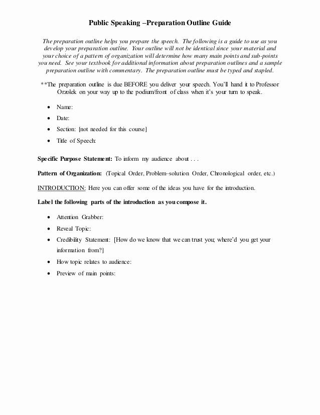 Mla format Outline for Speech Luxury Prep Outline Final Speech Template