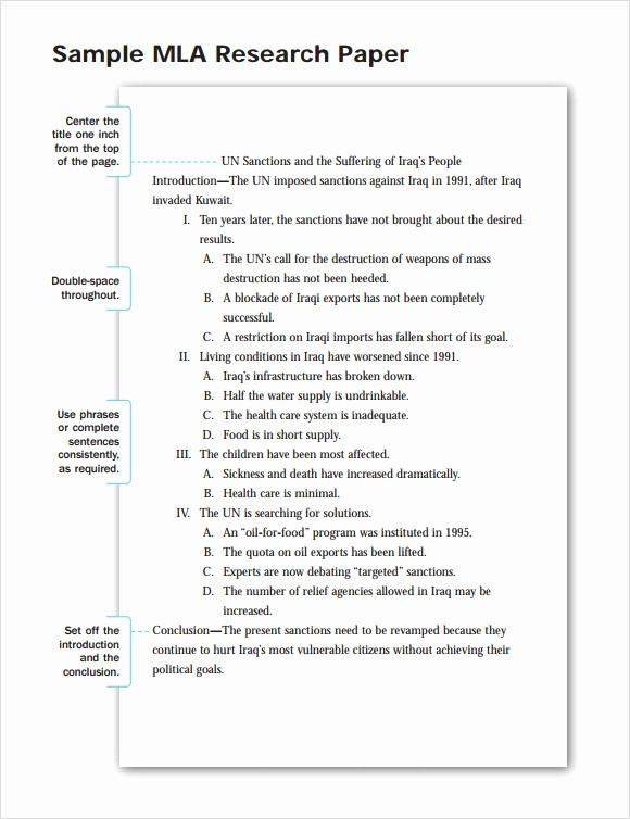 Mla format Research Paper Template Elegant Research Paper Outline Template 9 Download Free