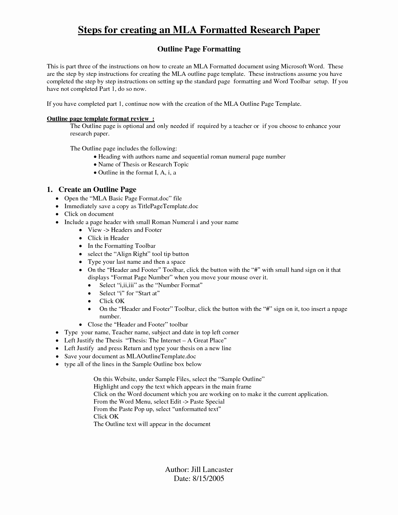 Mla format Research Paper Template Lovely Best S Of Mla College Research Paper Outline Mla
