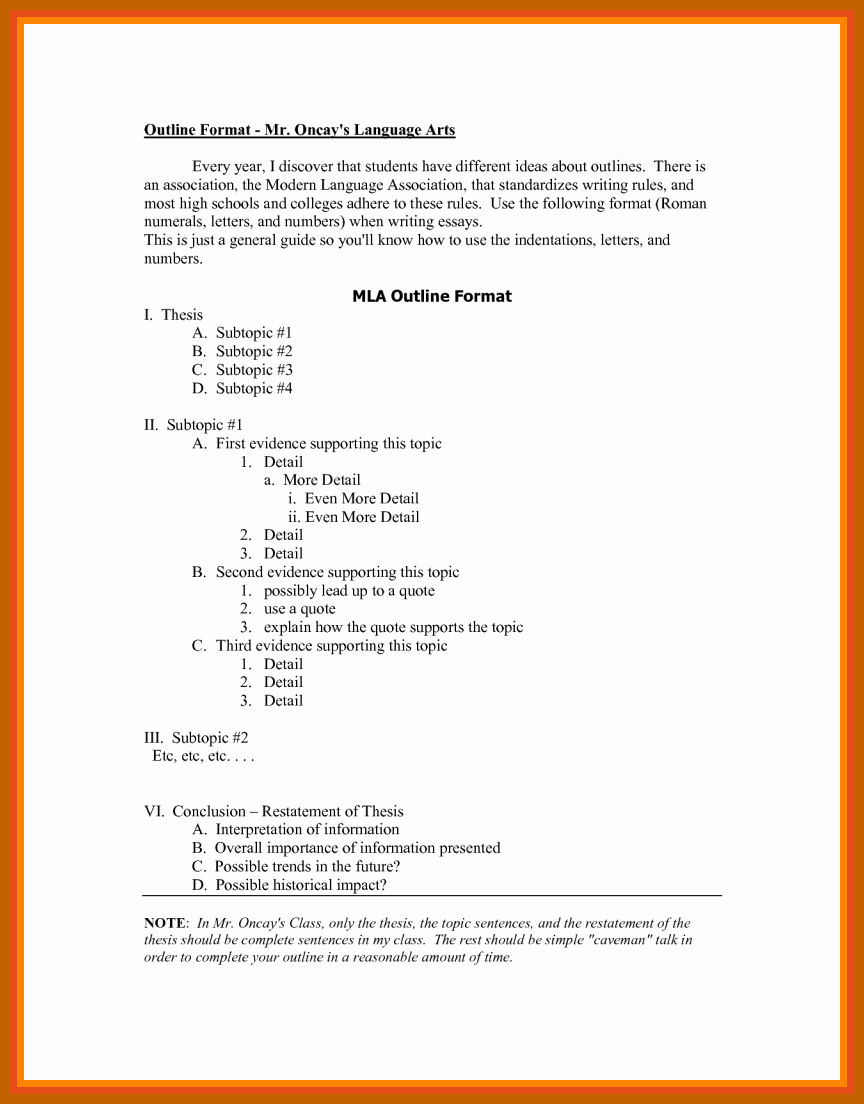 Mla format Research Paper Template Unique 7 8 Outline In Mla format
