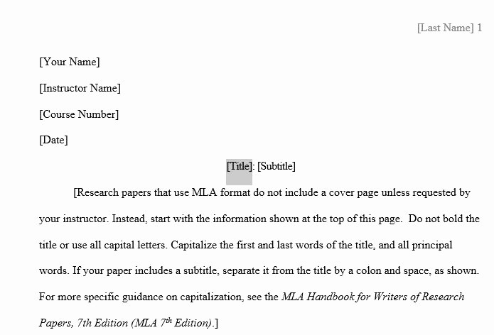 Mla format Research Paper Template Unique Elearning Centralia College
