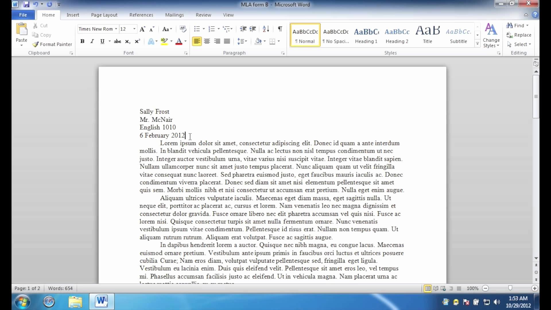 Mla format Word 2010 Template Best Of Best S Of Mla Outline format 2010 Mla format Sample