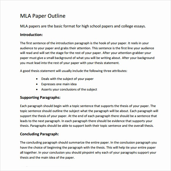 Mla format Word 2010 Template Lovely Mla Outline Template 11 Download Free Documents In Pdf