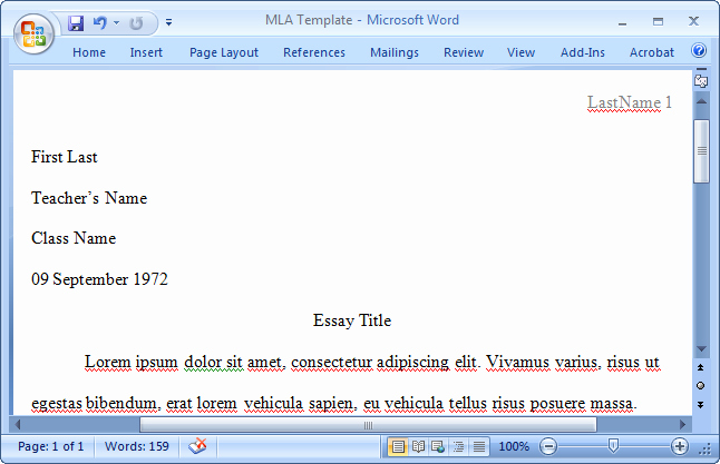 Mla format Word 2010 Template Unique How to Add Page Numbers In Word 2010 Mla format One Inch