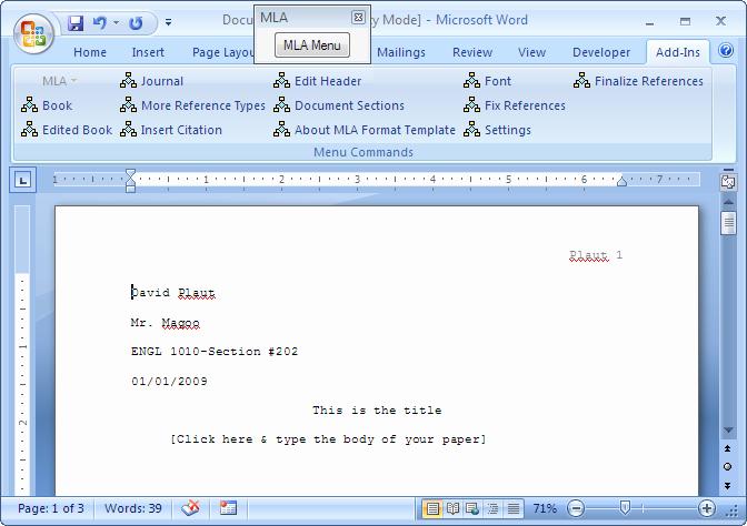 Mla format Word 2010 Template Unique Mla format Template