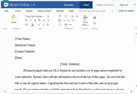 Mla format Word 2013 Template Inspirational Mla format Template Word 2010 I Ficial Research