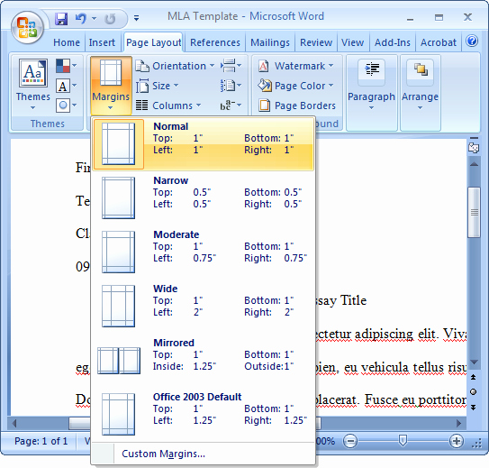 Mla format Word 2013 Template Luxury Mla Menu In Word 2007