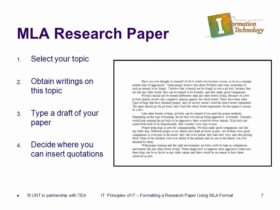 Mla formatted Research Paper Example Awesome formatting A Research Paper Ppt
